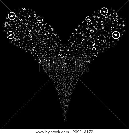 Sharp Rounded Arrow fireworks stream. Vector illustration style is flat white iconic sharp rounded arrow symbols on a black background. Object fountain combined from random pictograms.