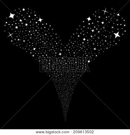 Shine Stars source stream. Vector illustration style is flat white iconic shine stars symbols on a black background. Object fountain organized from random pictograms.
