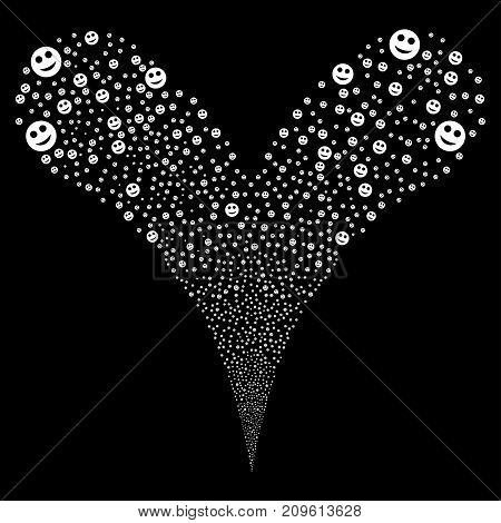 Smile fireworks stream. Vector illustration style is flat white iconic smile symbols on a black background. Object fountain constructed from random pictographs.
