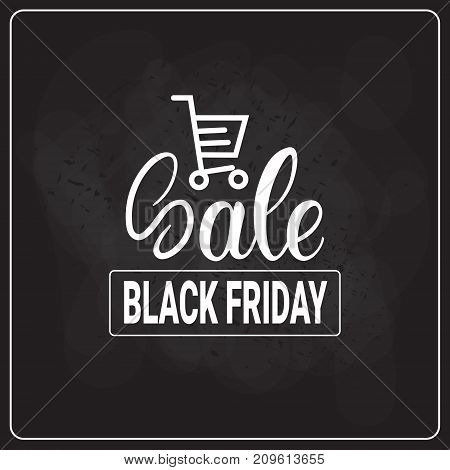 Black Friday Shopping Cart On Holiday Sale Logo Shopping Discount Flyer Vector Illustration