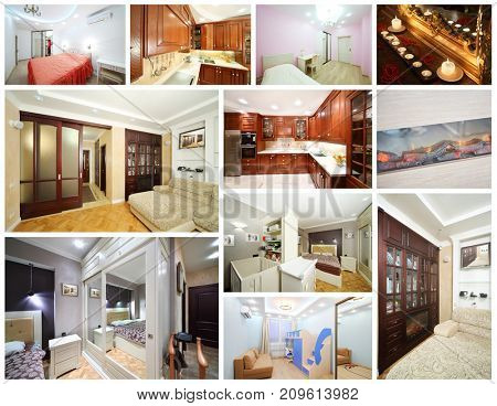 Collage with beautiful interiors of apartments - living room, bedroom, kitchen