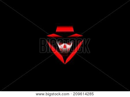 Logo hacker detected, vector isolated or black background