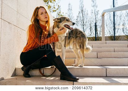 beautiful young red-haired girl walking in the park with her big dog sitting on the stairs