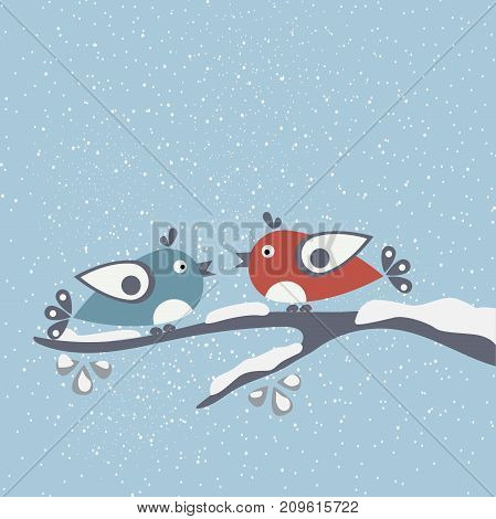 Cute Birds tweeting on a branch covered with snow. Falling Snow Background. Vector Illustration.