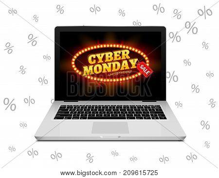 Cyber Monday sign on laptop screen. Vector internet shop sale background banner. Online sale discount.
