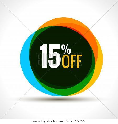 15 percent discount sale sticker. Discount price label. Vector promotion discount sale.