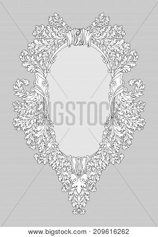 Baroque Rococo Mirror Frame Decor. Vector French Luxury Rich Carved Ornaments And Wall Frames. Victo