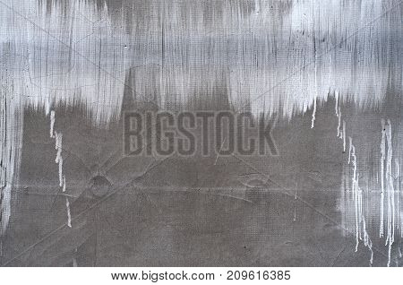 Distress cement whitewash brushed wall texture. Grunge rennovate abstract background. Grainy dirty weathered cover. Empty design template.