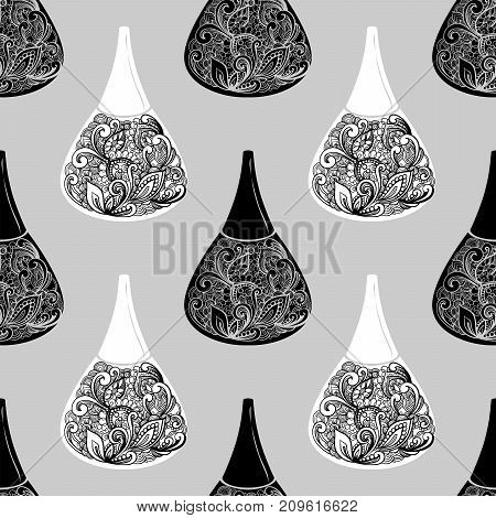 Cosmetic Seamless Vector Pattern. Nail Polish Sketch Texture. Fashion Background With Nail Polish In
