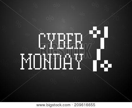 Cyber monday pixel text art. Shopping sale black illustration.