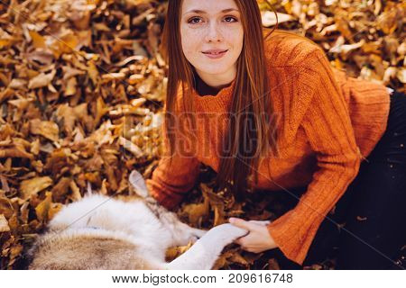 the lovely red-haired girl in an orange sweater is playing on the fallen leaves with a dog.