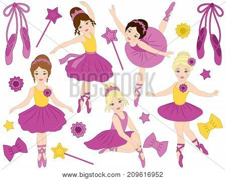 Vector set with beautiful young ballerinas, bows and ballet shoes. Vector ballerinas in purple tutu dresses. Ballerinas vector illustration
