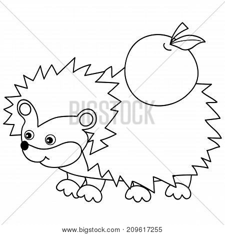 Vector black and white cute cartoon hedgehog carrying apple on spines. Vector hedgehog. Hedgehog vector illustration