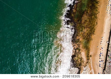 Top View of Waves Crushing in Salvador, Brazil
