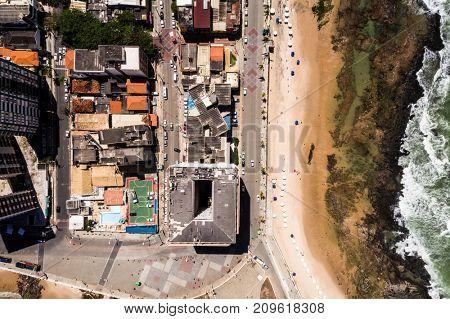 Top View of Barra Beach in Salvador, Bahia, Brazil