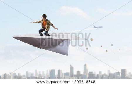 Dreaming to fly. Mixed media