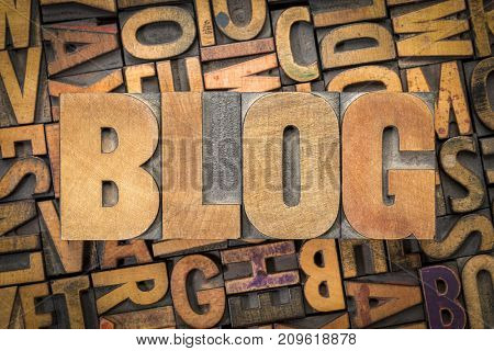 blog word abstract in vintage letterpress wood type against random printing blocks