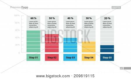 Five columns bar chart slide template. Business data. Percentage, diagram, design. Creative concept for infographic, presentation. Can be used for topics like management, analytics, research.