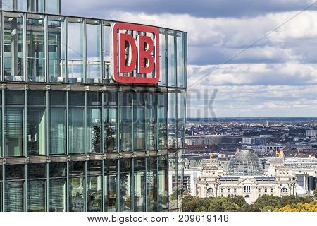 Db Logo On The Top Of Bahntower In Berlin, Germany