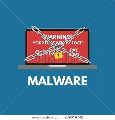 Malware cyber attack. Red alert notification and padlock with chain on laptop . Ransowmare virus encrypted files. Flat design.