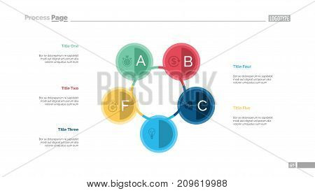 Five circles process chart. Business data. Step, diagram, design. Creative concept for infographic, templates, presentation, report. Can be used for topics like marketing, training, finance.