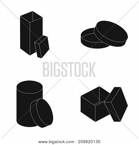 Box, container, package, and other  icon in black style.Case, shell, framework icons in set collection