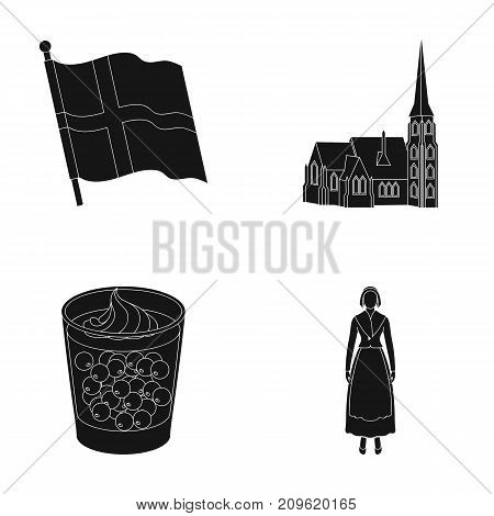 Flag, national, symbol, and other  icon in black style.Denmark, history, tourism icons in set collection