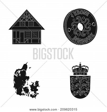 House, residential, style, and other  icon in black style. Country, Denmark, sea icons in set collection