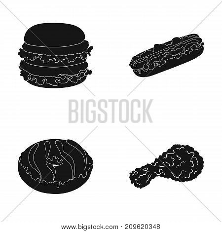 Fast food, meal, and other  icon in black style.Hamburger, bun, flour, icons in set collection