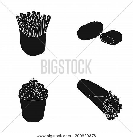 Food, refreshments, snacks and other  icon in black style.Packaging, paper, potatoes icons in set collection.