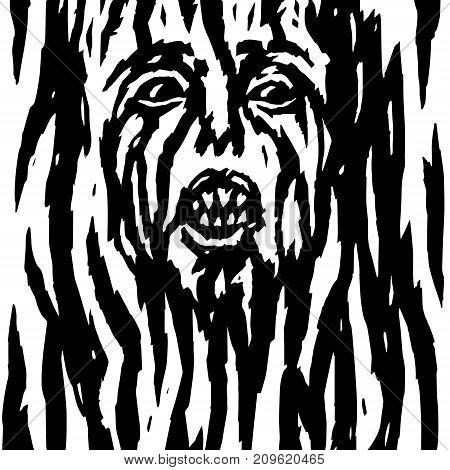 Screaming demon with bleeding woman's face. Vector illustration. Genre of horror. Scary character head for halloween.