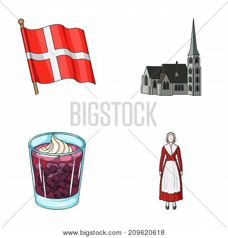 Flag, national, symbol, and other  icon in cartoon style.Denmark, history, tourism icons in set collection