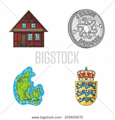 House, residential, style, and other  icon in cartoon style. Country, Denmark, sea icons in set collection