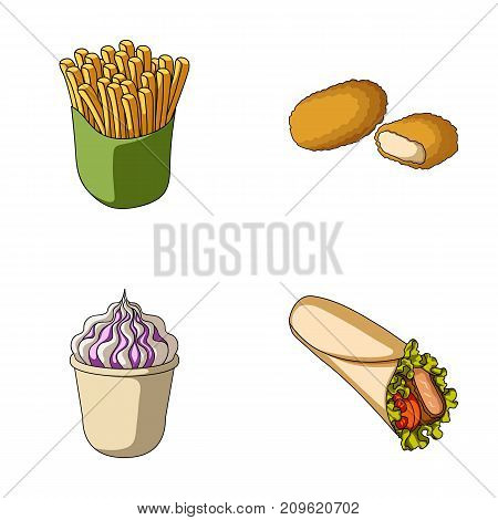 Food, refreshments, snacks and other  icon in cartoon style.Packaging, paper, potatoes icons in set collection.