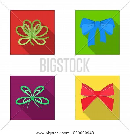 Bow, ribbon, decoration, and other  icon in flat style. Gift, bows, node icons in set collection