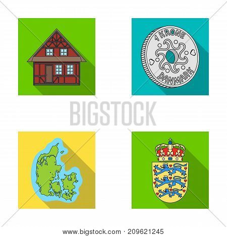 House, residential, style, and other  icon in flat style. Country, Denmark, sea icons in set collection