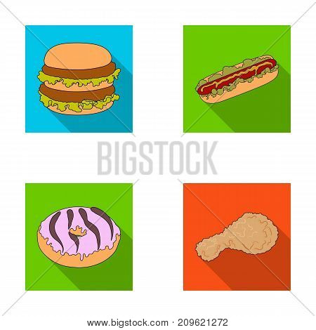 Fast food, meal, and other  icon in flat style.Hamburger, bun, flour, icons in set collection