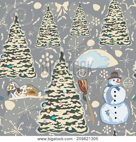 Colorful Winter Pattern with Snowman, Decorated Spruce trees and bunny in Snow. Winter Collection. Vector Illustration