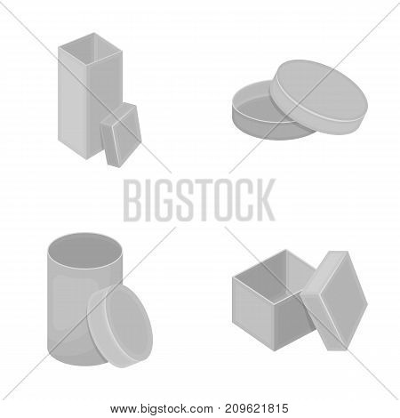 Box, container, package, and other  icon in monochrome style.Case, shell, framework icons in set collection