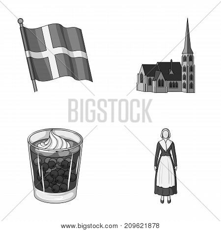 Flag, national, symbol, and other  icon in monochrome style.Denmark, history, tourism icons in set collection