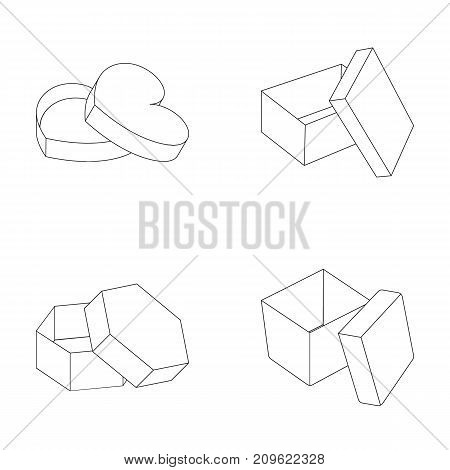 Box, container, package, and other  icon in outline style.Case, shell, framework icons in set collection