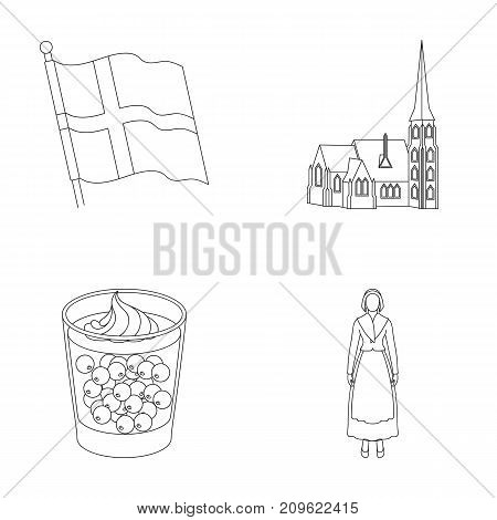 Flag, national, symbol, and other  icon in outline style.Denmark, history, tourism icons in set collection