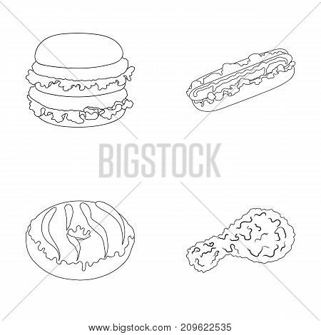 Fast food, meal, and other  icon in outline style.Hamburger, bun, flour, icons in set collection