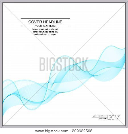 Universal Covers Design with Light Blue Wave Line on White Background. Templates for Business Presentation Publications Blank.