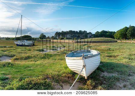 Boats at Alnmouth estuary on the Nothumberland coast