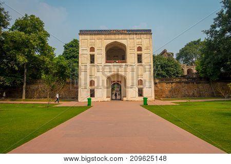 DELHI, INDIA - SEPTEMBER 19, 2017: Beautiful viewof the entrance to Humayun tomb in Delhi, India.