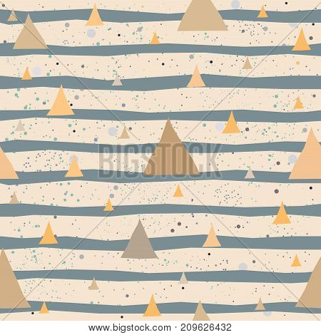 Cute Pattern with abstract triangles and hand drawn stripes. Great for Wall Art, t-shirts, cups, fabric, textile, gift wrapping, scrapbooks, etc. Vector Illustration.