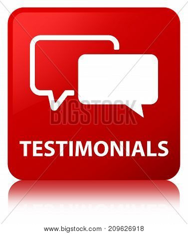 Testimonials Red Square Button