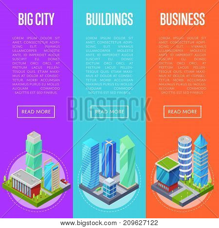 Modern city architecture banners set. Apartment, office, houses and streets with urban traffic movement of car with trees and nature isometric objects. Downtown business district vector illustration.