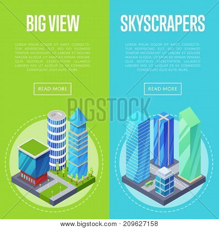 Big skyscrapers architecture banners set. Apartment, office, houses and streets with urban traffic movement of car isometric 3d objects. Downtown business district, real estate vector illustration.